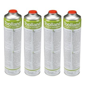 Toolland 4x Universal gas cylinders, 600 ml for gas burners