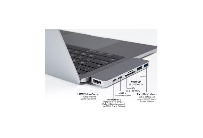 Hyper HyperDrive Thunderbolt 3 USB-C Hub voor MacBook Pro (Spacegrijs)