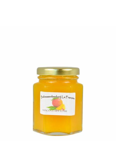 Bosbessenkwekerij La Française Mango gember jam (50 gram, 135 gram of 325 gram)