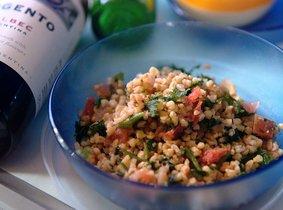 Farro salade met buffelmozzarella
