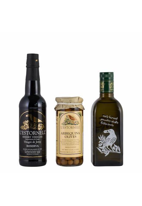 Olives & More Pakket Spanje / Nieuwe oogst Early Harvest Extra Vergine Olive Oil (EVOO) (500 ml), Arbequina olijven (180 gr) / Sherry azijn (375 ml)