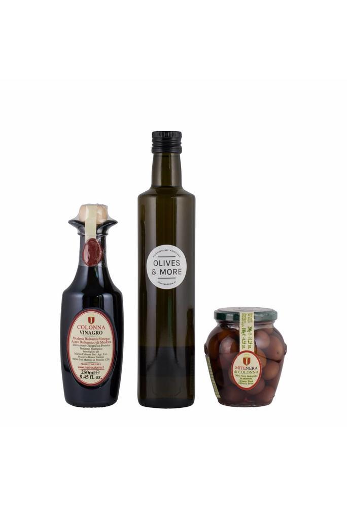 Olives & More Pakket Italië / Peranzana Extra Vergine Olive Oil (EVOO) (500 ml),  Balsamico (250 ml), Mite Nera olijven (180 gr)