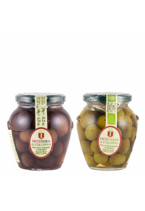 Olives & More Colonna olijven /  2 potjes: Mite Nera & Mite Verde (180 gr per potje)