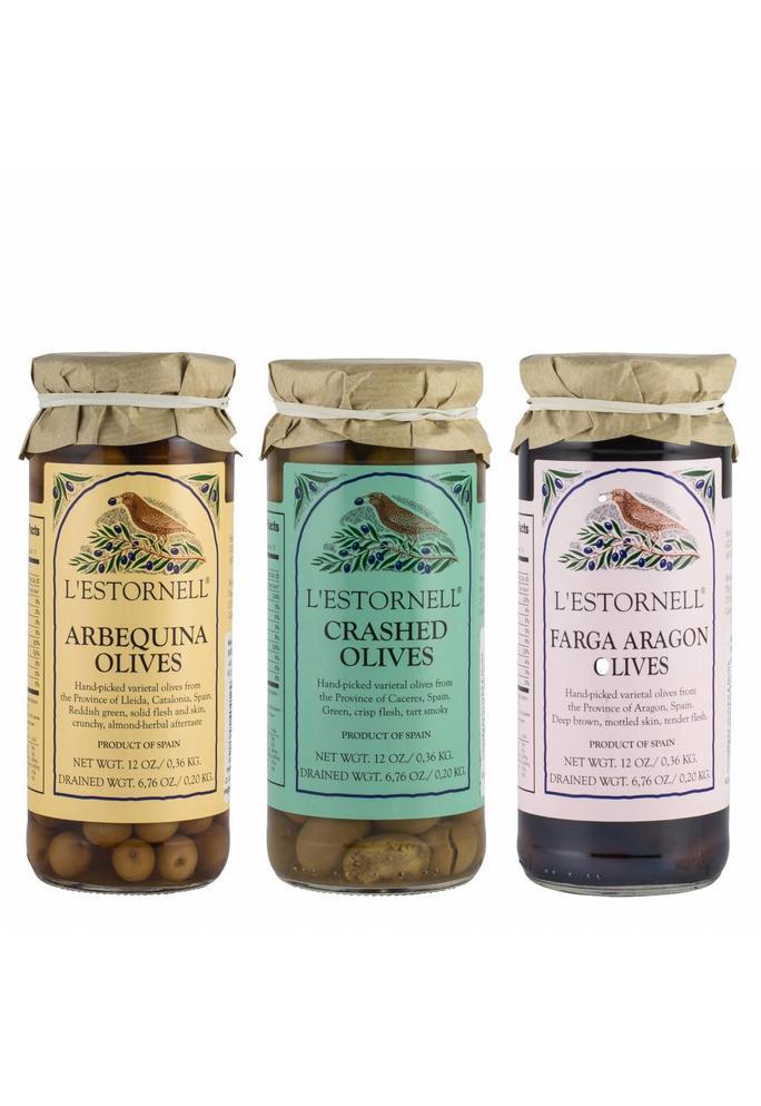 Olives & More L'Estornell olijven: 3 potjes (Arbequina, Manzanilla, Fara Aragon), 180 gr per potje