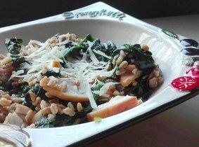 Farro met kip en spinazie