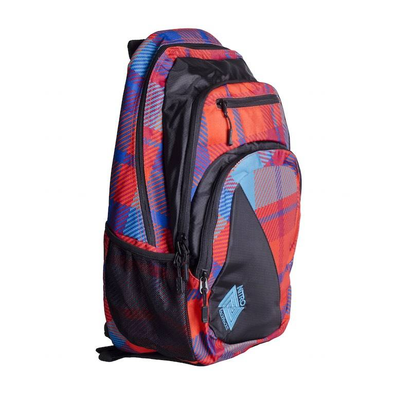 Nitro Nitro Backpack Stash Plaid Red-Blue