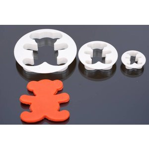 Ausstecher, Bär, serie 3 stück, 9,5 cm, 3,5 cm, 6 cm