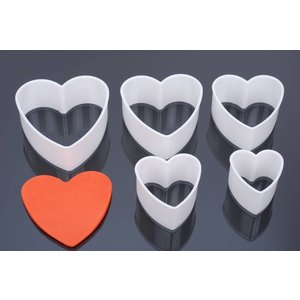 Uitsteker, hartvorm, set 5 stuks, 5 cm, 6 cm, 7 cm, 8 cm, 9 cm