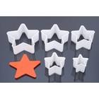 Ausstecherr, Stern, serie 5 stück, 5 cm, 6 cm, 7 cm, 8 cm, 9cm