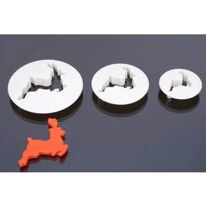 Ausstecher, Rentier, Set 3 stück, 4 cm, 5cm, 6cm, 8 cm