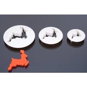 Cutter, Reindeer, set 3 pieces, 4 cm, 5cm, 6 cm, 8 cm