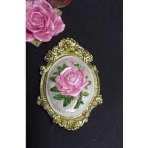 Silikonform - Rose im Bilderrahmen 7cm
