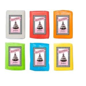 Fondant - Wit, Rood, Oranje, Groen, Blauw en Geel 6x 250g
