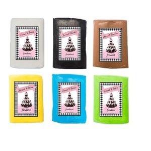 Fondant - Weiß, Schwarz, Braun, Gelbe, Blau und Grün 6x 250g