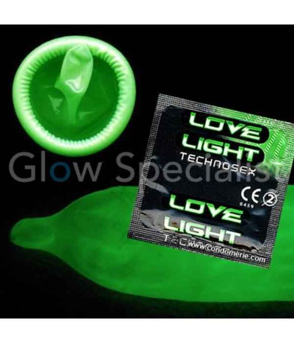 GLOW IN THE DARK LOVE LIGHT CONDOOM - 3 STUKS