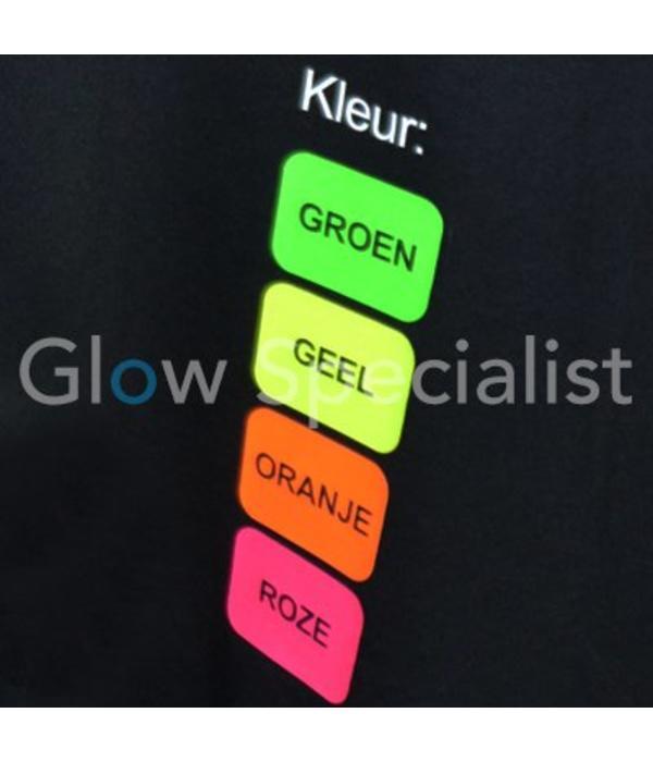 UV / BLACKLIGHT T-SHIRT MET GEPERSONALISEERDE NEON TEKST