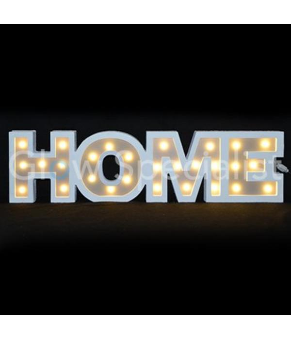 Decorative text with LED lighting - HOME