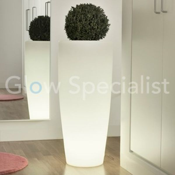 LED ILLUMINATED POT - ROUND - WHITE - 90 CM