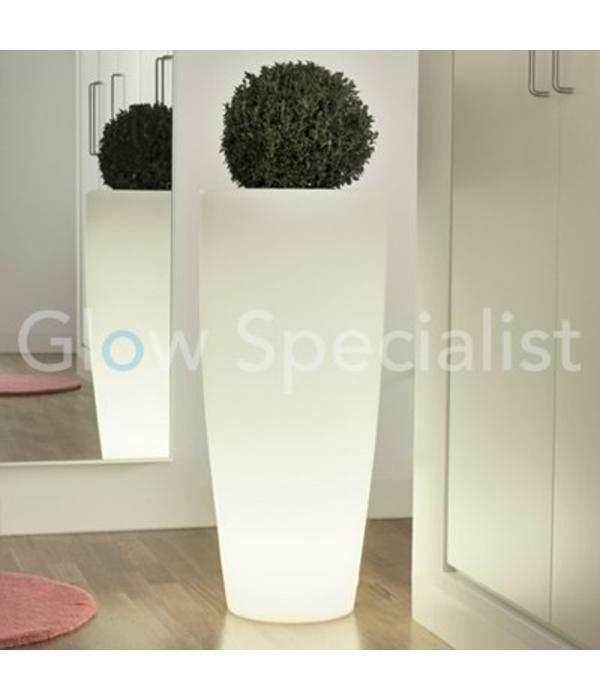 led verlichte bloempot rond wit 90 cm