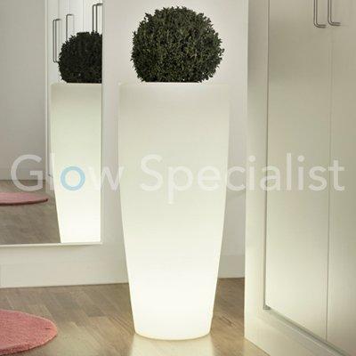 Verlichte bloempot rond - WIT - 90 cm - Glow Specialist