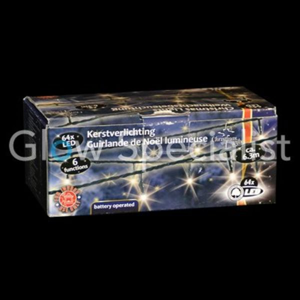WHITE LED Christmas lights - 64 LIGHTS WITH LIGHT 6 FEATURES