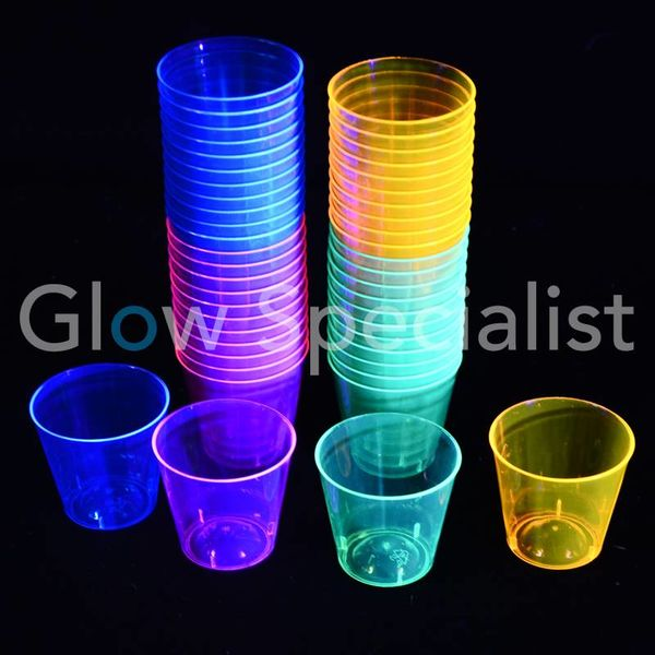 NEON SHOT GLASS - ASSORTED - 50 PCS - 30 ML