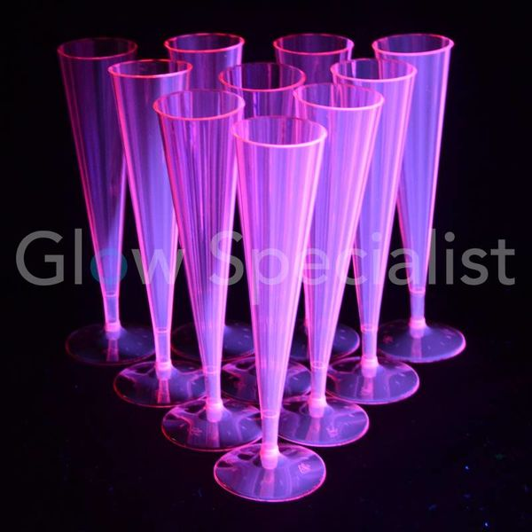 Neon Champagne flutes - pink - 10 pieces