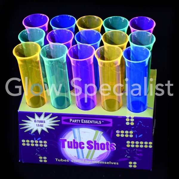 NEON TUBE SHOTS - ASSORTED - 15 PIECES