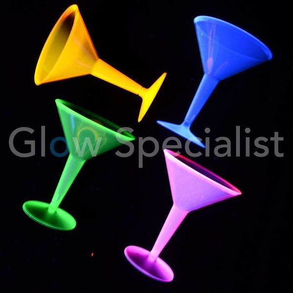 NEON MARTINI GLASS - ASSORTED - 12 PIECES