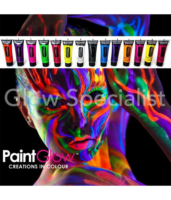 PAINTGLOW BLACKLIGHT FACE & BODY PAINT - SET VAN 12 TUBES