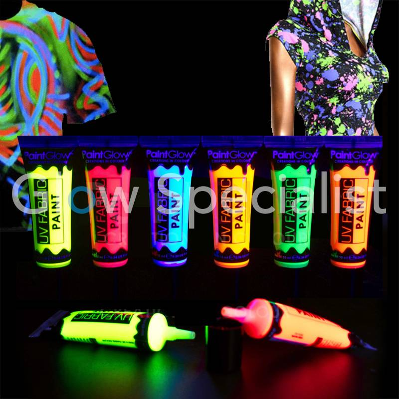 GLOW UV FABRIC PAINT - SET OF 6 - Glow Specialist - Glow Specialist 04405e25d3