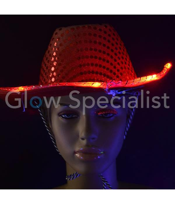 04e192db070 LED COWBOY HAT WITH SEQUINS - Glow Specialist - Glow Specialist