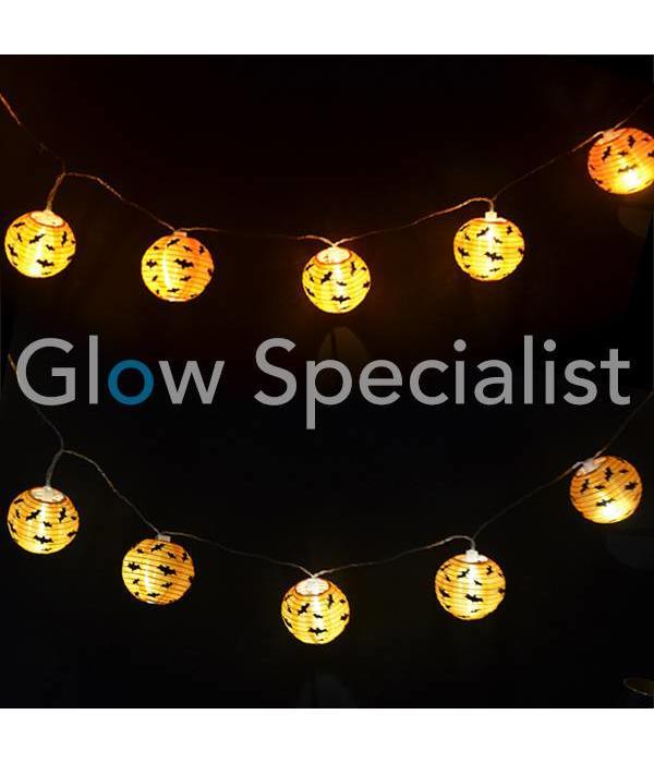 HALLOWEEN LED LICHTKETTING MET 10 LAMPIONNEN - VLEERMUIZEN