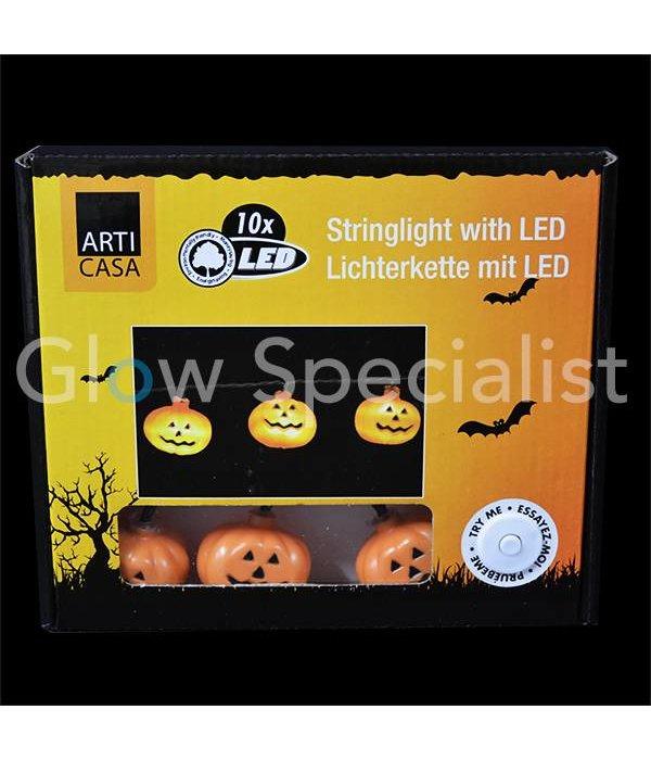 HALLOWEEN LED LICHTKETTING MET 10 LAMPJES - POMPOEN