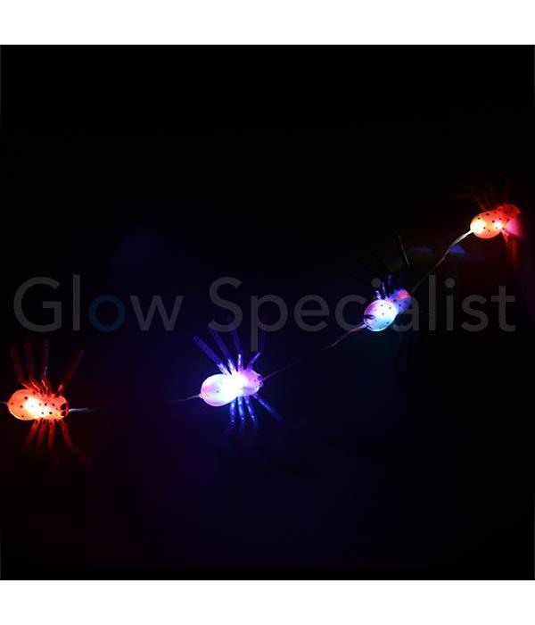 HALLOWEEN LED LICHTKETTING MET 10 COLORCHANGING LAMPJES - 5 GROTE SPINNEN