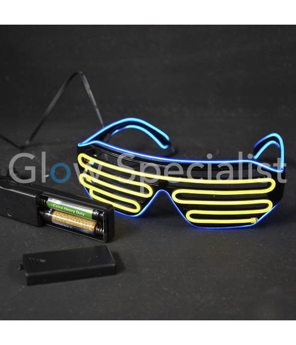 EL-WIRE SHUTTER GLASSES - BLACK - ORANGE / BLUE LED