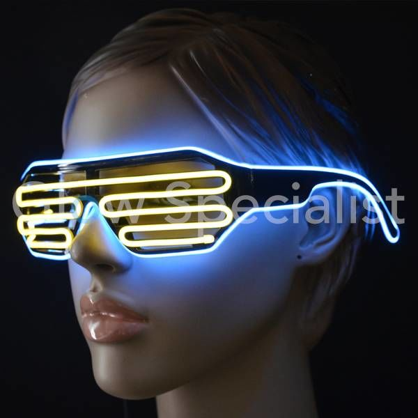 EL-WIRE SHUTTER GLASSES - BLACK - ORANGE / BLUE LED
