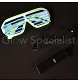 EL-WIRE SHUTTER GLASSES - WHITE - BLUE / YELLOW