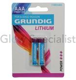 Grundig GRUNDIG BATTERIJEN AAA/FR03 LITHIUM - 2 STUKS