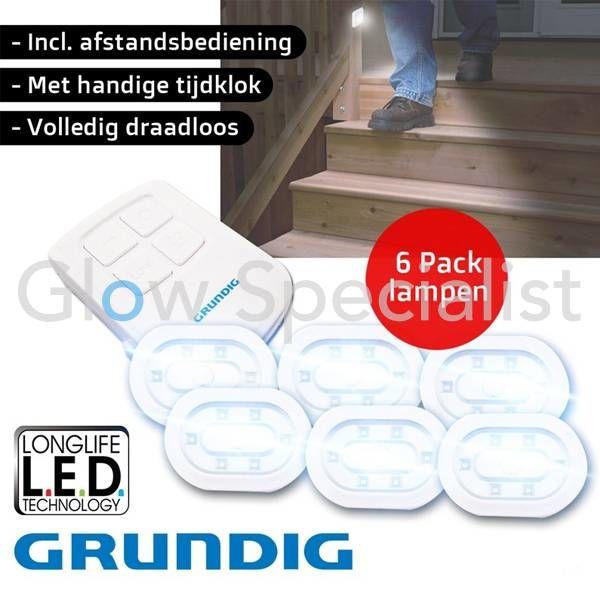 DRAADLOZE LED LAMPEN MET AFSTANDSBEDIENING - SET VAN 6