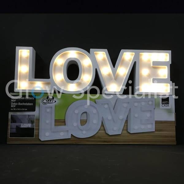DECORATIEVE LETTERS MDF MET LED VERLICHTING - LOVE