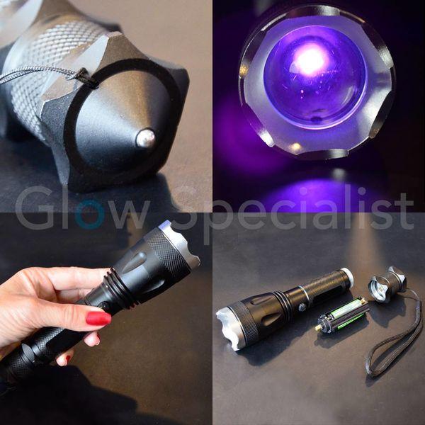 MULTIFUNCTIONAL UV LED FLASHLIGHT - 10W - WITH EMERGENCY HAMMER