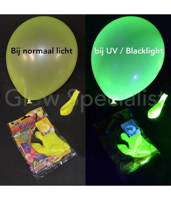 UV NEON BALLOONS - YELLOW - 10 PIECES