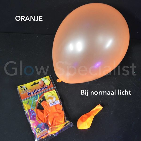 UV NEON BALLOONS - ORANGE - 10 PIECES