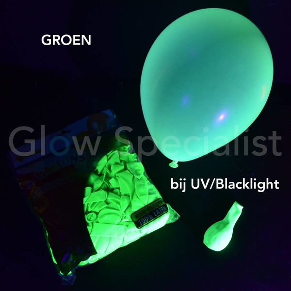 UV NEON BALLOONS - GREEN - 100 PIECES