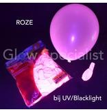UV NEON BALLONNEN - 25 CM - ROZE - 100 STUKS