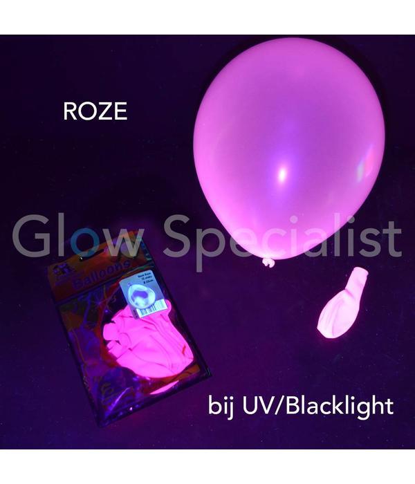 UV NEON BALLONNEN - 25 CM - ROZE - 10 STUKS