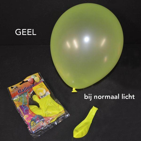 UV NEON BALLONNEN - 25 CM - GEEL - 10 STUKS