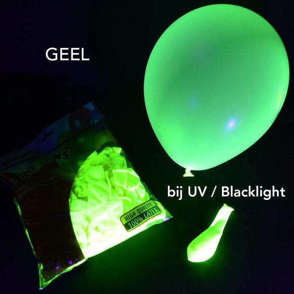 UV NEON BALLONNEN - 25 CM - GEEL - 100 STUKS