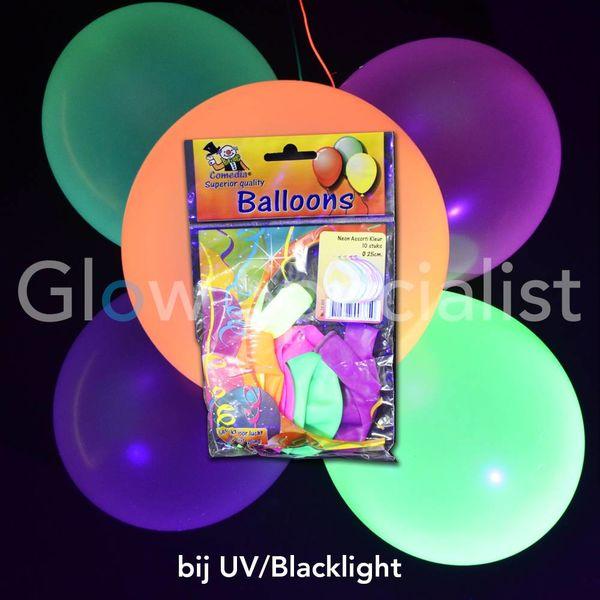 UV NEON BALLONNEN - 25 CM - ASSORTI - 10 STUKS